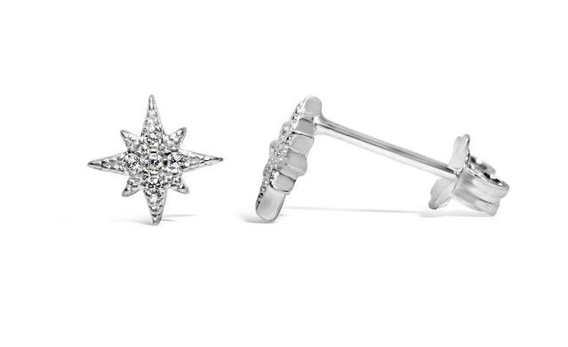Stia Pave Starburst Sterling Silver Post Earrings