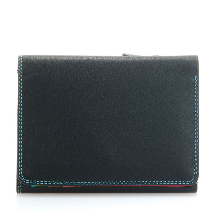 Mywalit Small Tri-Fold Leather Wallet in Black/Pace