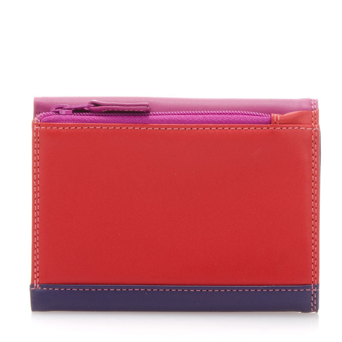 Mywalit Small Tri-Fold Leather Wallet in Sangria Multi