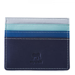mywalit Leather Credit Card Holder in Denim