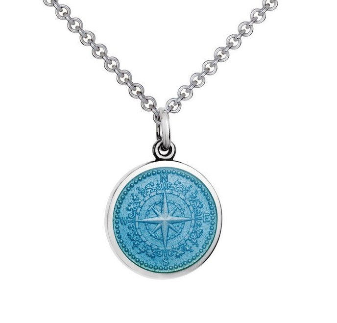 Colby Davis Sterling Small Compass Rose Pendant in Light Blue Enamel on Chain