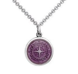 Colby Davis Sterling Small Compass Rose Pendant in Lavender Enamel on Chain