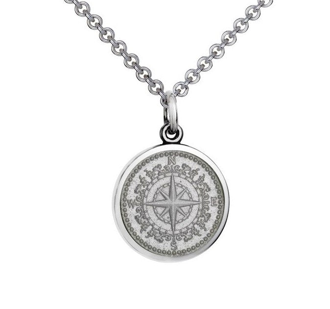 Colby Davis Sterling Small Compass Rose in White Enamel Pendant on Chain