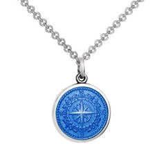 Colby Davis Sterling Small Compass Rose Pendant in French Blue Enamel on Chain