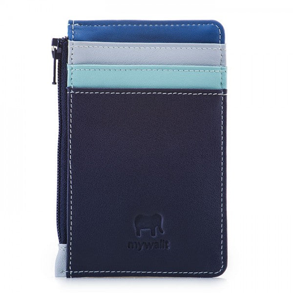 mywalit leather credit card holder and coin purse in denim