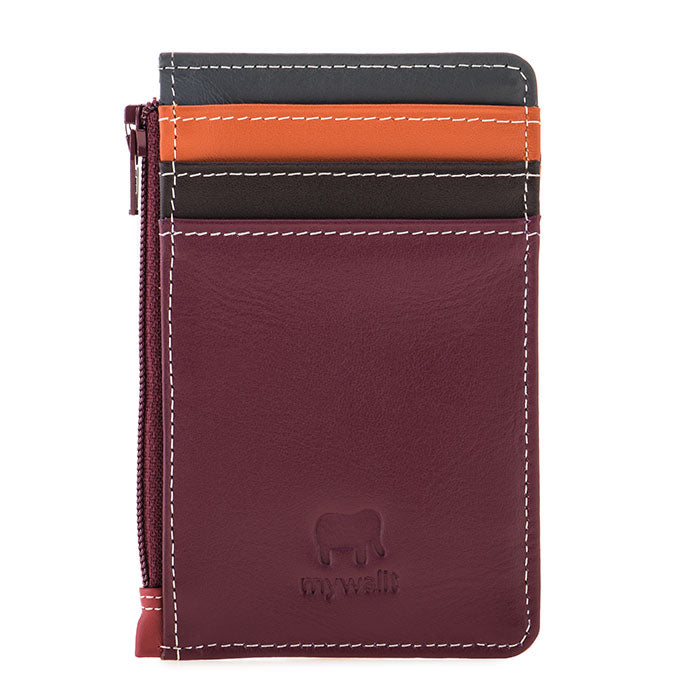 mywalit leather credit card holder and coin purse in chianti