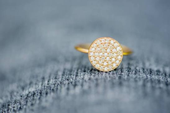 Stia It Fits Pave Icon Gold Plated Disk Ring