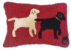 Chandler 4 Corners Lab Buddies Hooked Wool Pillow