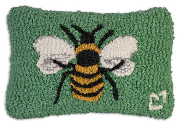 Chandler 4 Corners Honey Bee Hooked Wool Pillow