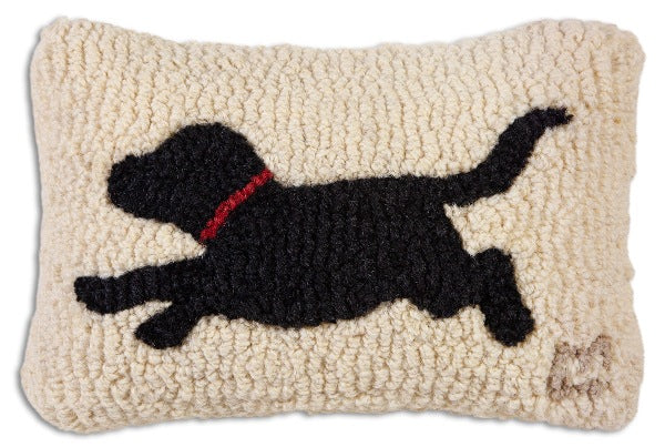 Chandler 4 Corners Running Black Lab Hooked Wool Pillow