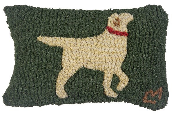 Chandler 4 Corners Walking Yellow Lab Hooked Wool Pillow
