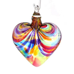 Glass Eye Studio Blown Glass Heart Ornament in Rainbow