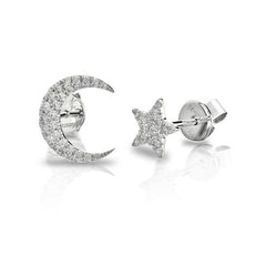 MeiraT 14k White Gold Pave Diamond Moon and Star Earrings
