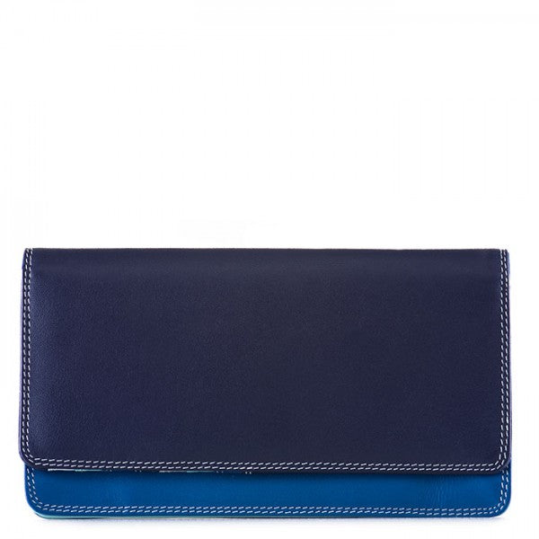 mywalit leather medium matinee wallet in denim