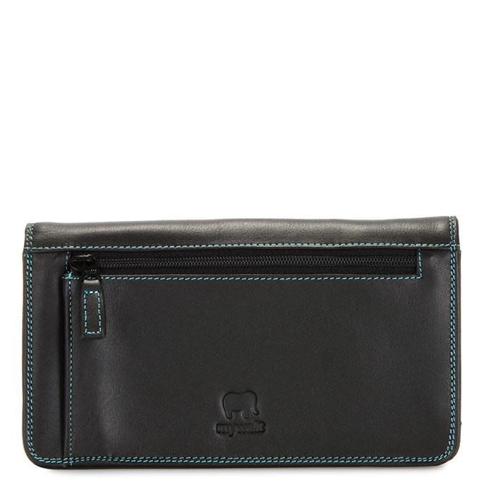 mywalit leather medium matinee wallet in black/pace