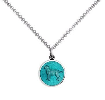 Colby Davis Sterling Small Dog Pendant in Light Blue Enamel on Chain