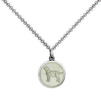 Colby Davis Sterling Small Dog Pendant in White Enamel on Chain