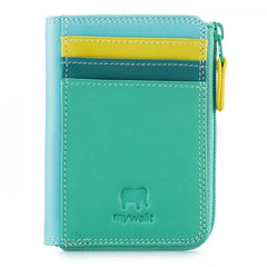 mywalit leather small zip purse in mint