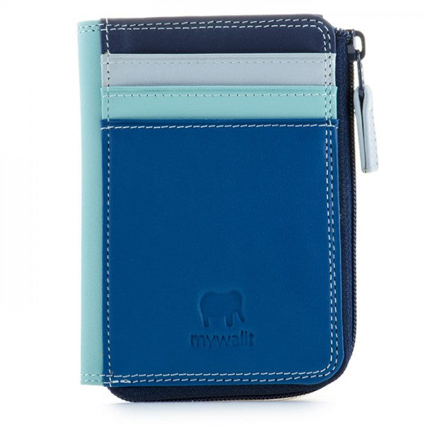 mywalit leather small zip purse in denim