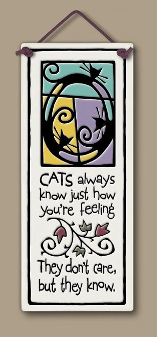 Spooner Creek Large Tall Cats Always Know Ceramic Hanging Tile