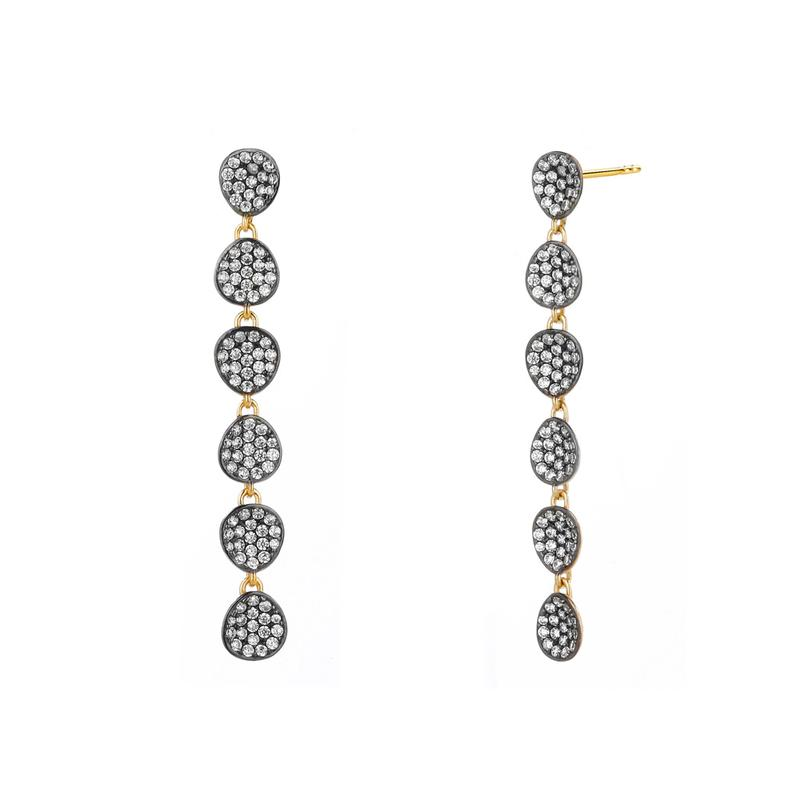 Nadri 18k Yellow Gold Plate Como Pave Linear Earrings with Cubic Zirconias