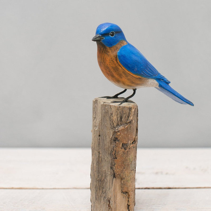 Hand Painted Wood Blue Bird
