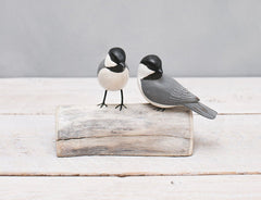 Hand Painted Wood Chickadee Pair