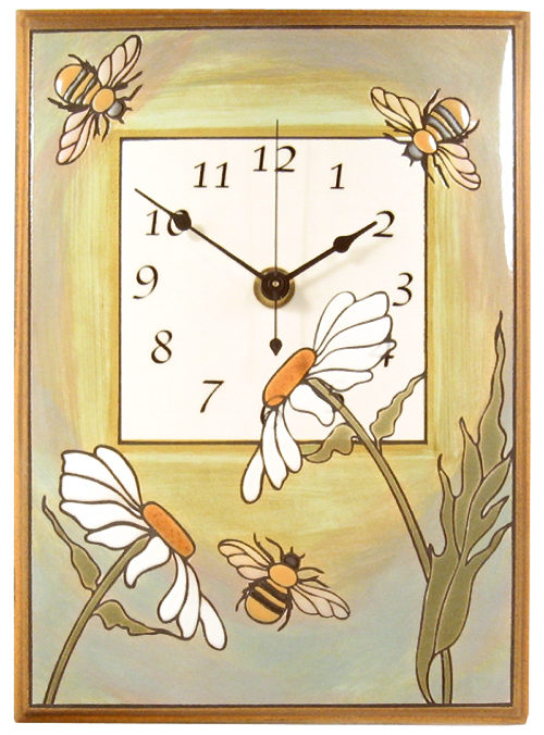 All Fired Up Large Ceramic Clock in Daisy Bee
