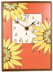All Fired Up Large Ceramic Clock in Mexican Sunflower