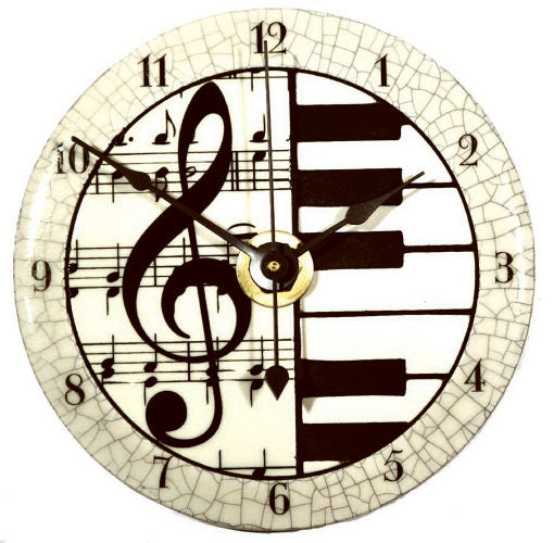All Fired Up Small Ceramic Clock in Classical Music