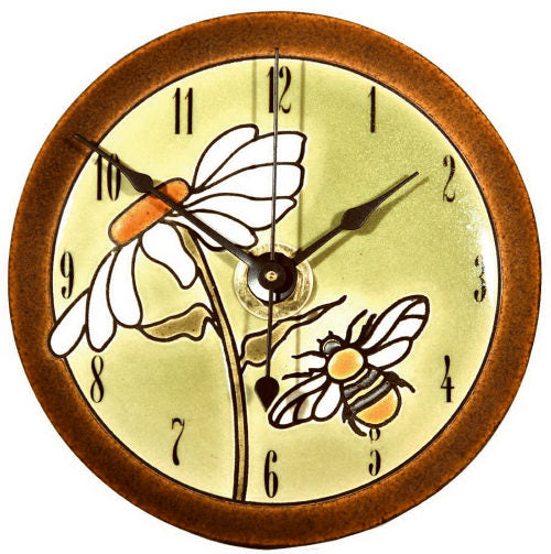 All Fired Up Small Ceramic Clock in Daisy Bee