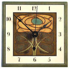 All Fired Up Small Ceramic Clock in Art Nouveau Flower