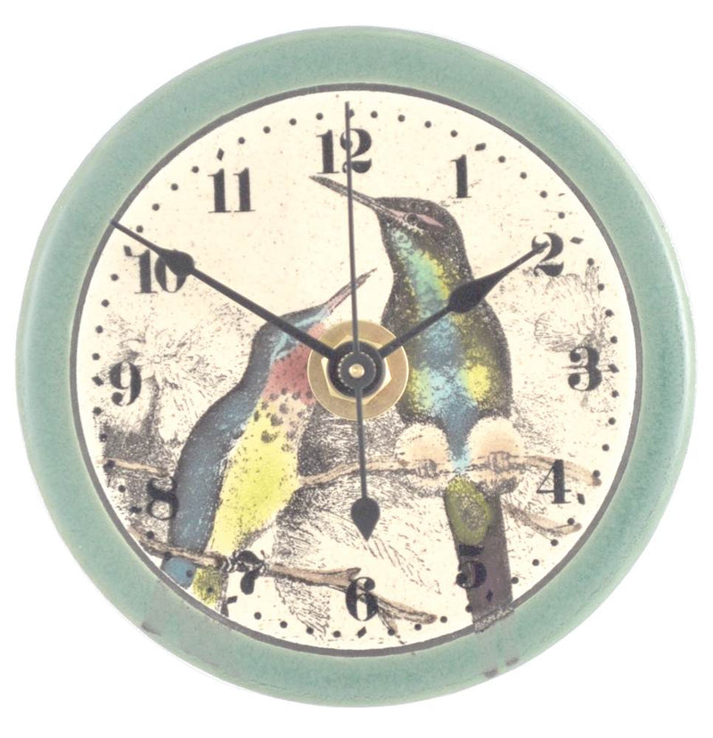 All Fired Up Small Ceramic Clock in Hummingbird Watercolor