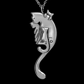 Jeni Benos Sterling Silver Cancer Zodiac Cat Pendant
