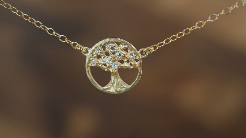 Victoria Cunningham 14 Karat Gold Tree of Life Necklace