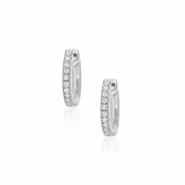 Liven Co. 14k White Gold Petite Diamond Huggie Earrings