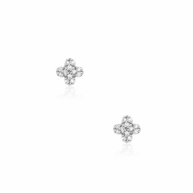 Liven Co. 14k White Gold Clover Diamond Post Earrings