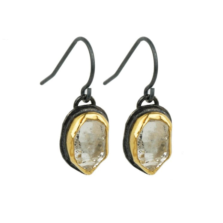 Silver + Salt Oxidized Sterling Silver and 22k Gold Herkimer Diamond Drop Earrings