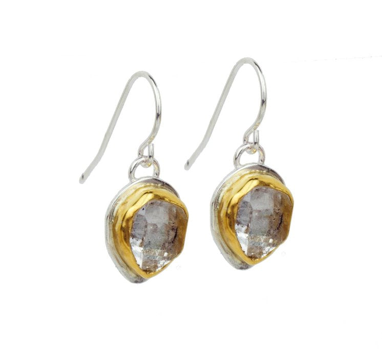Silver + Salt Sterling Silver and 22k Gold Herkimer Diamond Drop Earrings