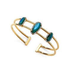 Nadri 18k Gold-Plate Jasmin Flexi Cuff Bracelet with Labradorite and Cubic Zirconias