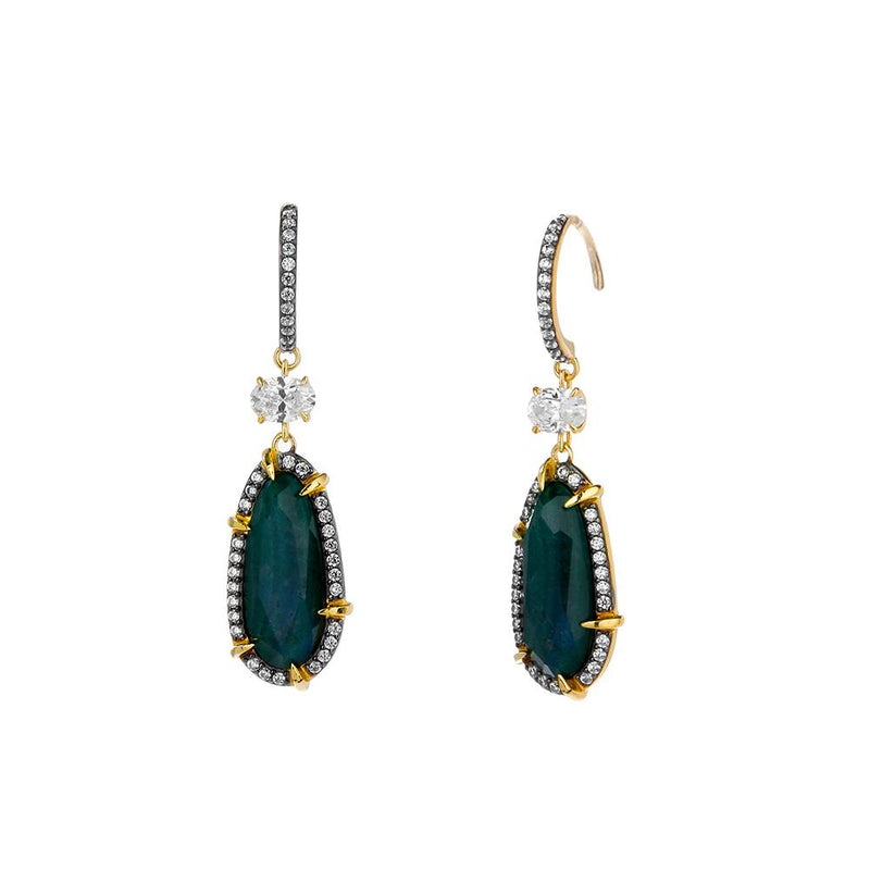 Nadri Jasmin Labradorite Drop Earrings in 18k Gold-Plate with Cubic Zirconias