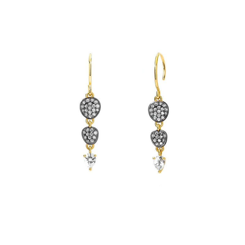 Nadri Sirena Pave Drop Earrings with White Topaz in 18k Gold-Plate with Cubic Zirconias