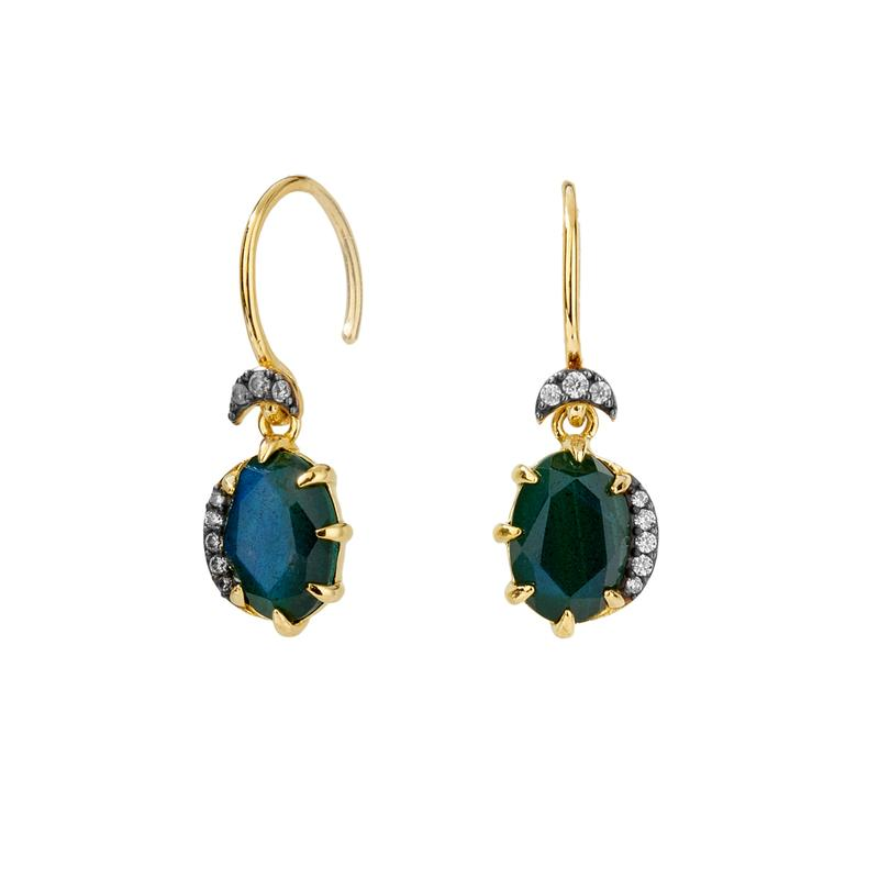 Nadri 18k Gold Plated Mari Labradorite Doublet Earrings with Cubic Zirconia