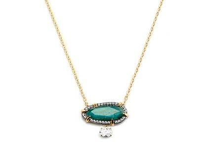 Nadri Jasmin Necklace with Labradorite in 18k Gold-Plate with Cubic Zirconias
