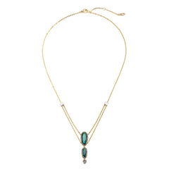Nadri Jasmin Layered Labradorite Necklace in 18k Gold-Plate with Cubic Zirconias