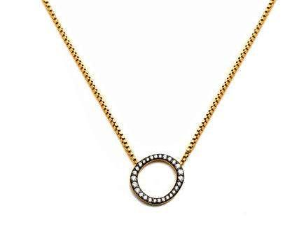 Nadri Villa Open Pave Circle Pendant Necklace in 18k Gold-Plate with Cubic Zirconias