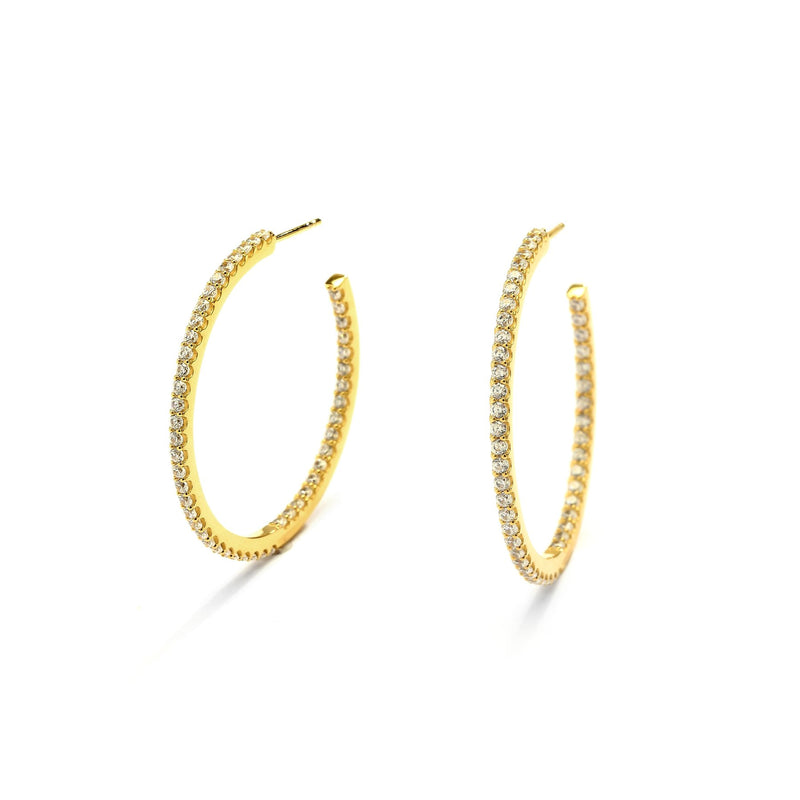 Nadri Sterling Silver Inside Out Hoop Earrings with Cubic Zirconia