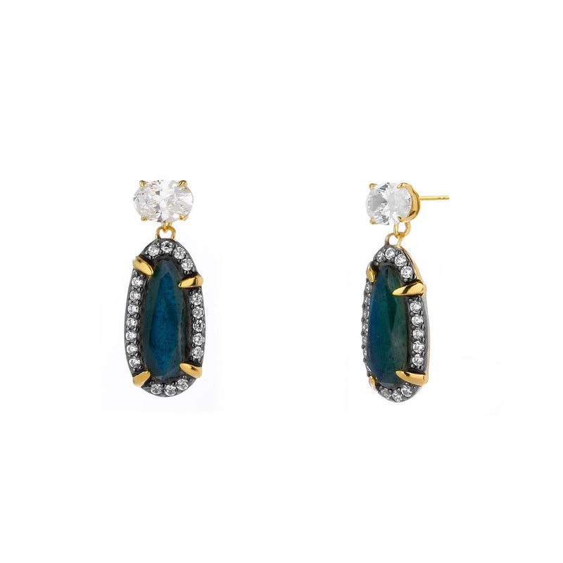 Nadri Labradorite Post Drop Earrings in 18k Gold-Plate with Cubic Zirconias