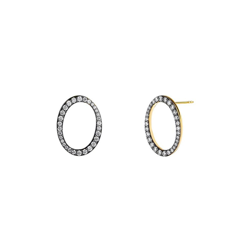 Nadri Jasmin Pave Open Circle Post Earrings in 18k Gold-Plate with Cubic Zirconias