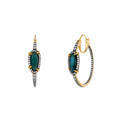 Nadri Labradorite Hoop Earrings in 18k Gold-Plate with Cubic Zirconias